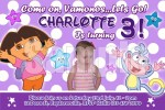 dora the explorer personalised photo birthday party invitations