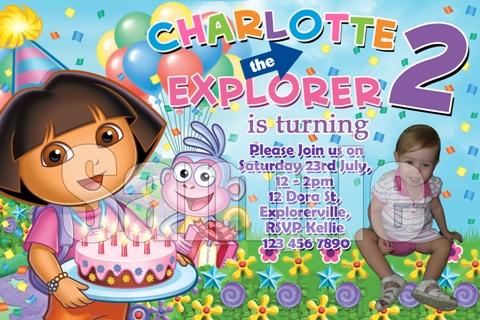 dora the explorer personalised photo birthday party invitations