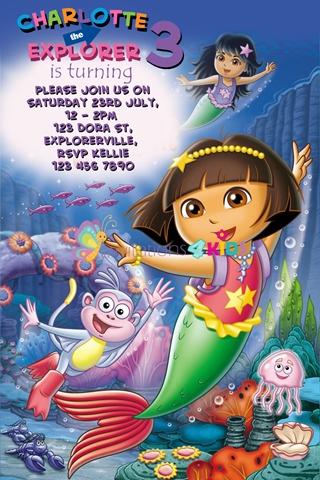 Dora The Explorer mermaid birthday party invitations