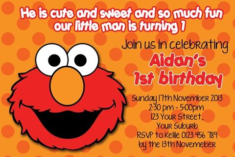 Elmo 1st first orange red birthday party invitation