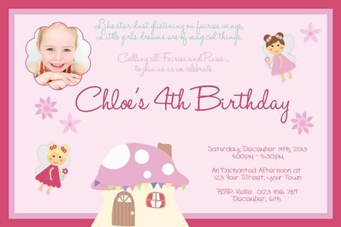 Fairies and Mushroom birthday party invitation