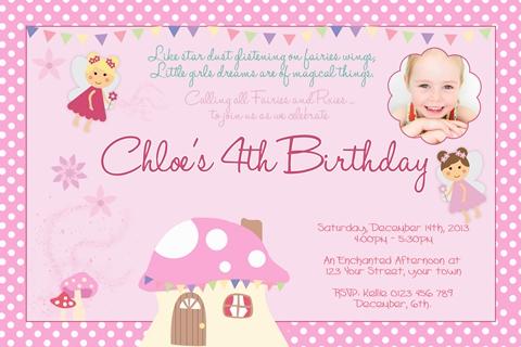 girls Fairies and Mushroom birthday party invite