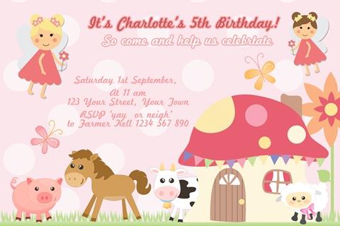 Fairy and Farm Animals birthday party invitation