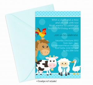 boys farm yard animals birthday party invitations invites