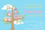 Girls personalised owl invitations