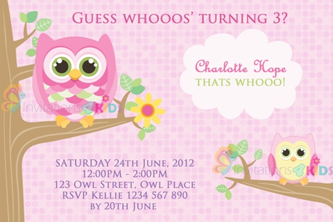 Girls pink personalised owl birthday party invitations