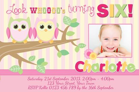 cute Girl Owl invitations