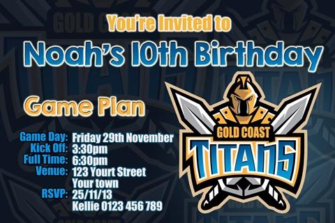 Gold Coast Titans birthday inviatation