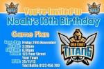 Gold Coast Titans birthday invitation