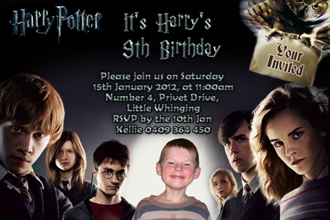 harry Potter personalised photo birthday party invitations