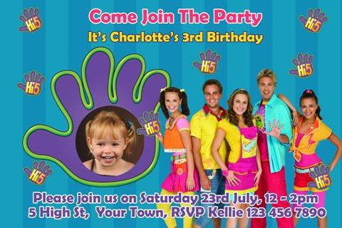 Hi 5 personalised photo birthday party invitations