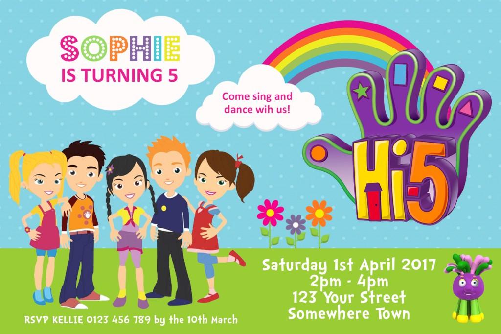 Hi 5 team cartoon birthday party invitation