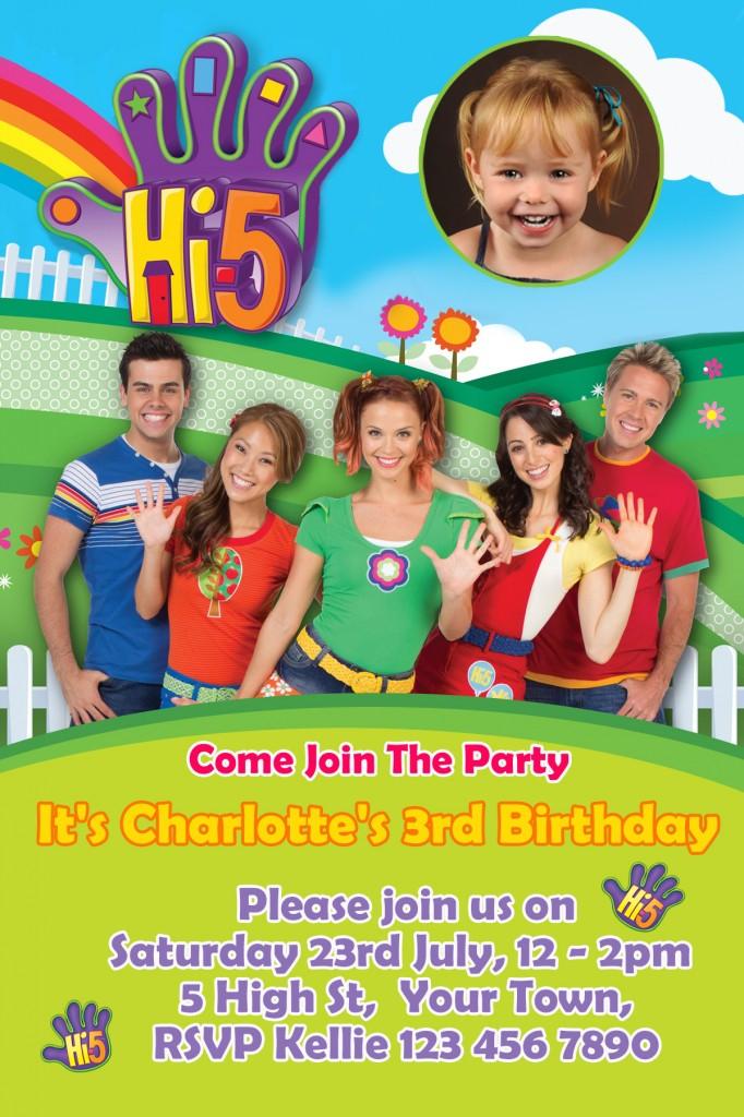 Hi 5 team new cast birthday party invitation