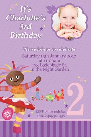 in the night garden birthday party invitation