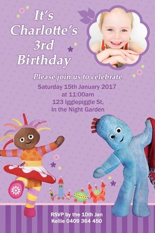 in the night garden birthday party invite