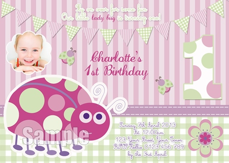 first birthday Lady Bug beetle pink green invitation