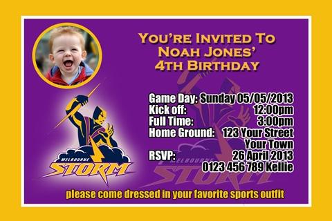 Melbourne Storm NRL football invitation