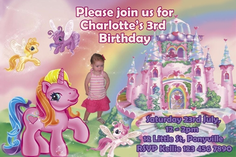 My Little Pony personalised photo birthday party invitations