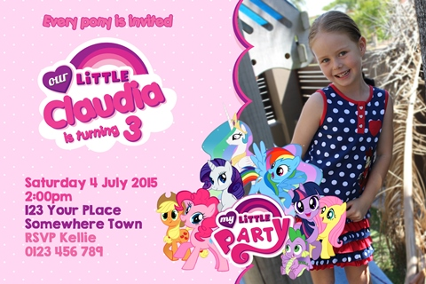 My Little Pony my friendship group invitation