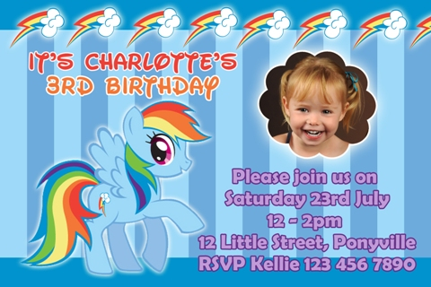 girls blue rainbow My Little Pony dash personalised photo birthday party invitations