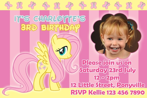 girls yellow pink butterfly My Little Pony fluttershy personalised photo birthday party invitations