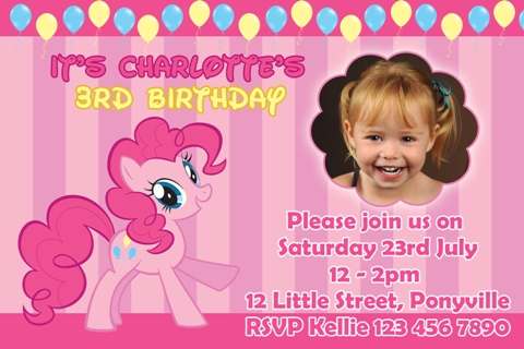 girls pink yellow balloon My Little Pony pinkie pie personalised photo birthday party invitations