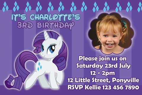 girls purple blue diamond My Little Pony rarity personalised photo birthday party invitations