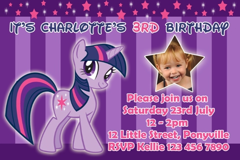 girls purple star My Little Pony sparkle personalised photo birthday party invitations