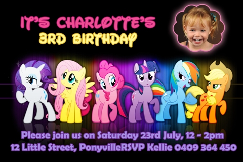 girls My Little Pony group personalised photo birthday party invitations