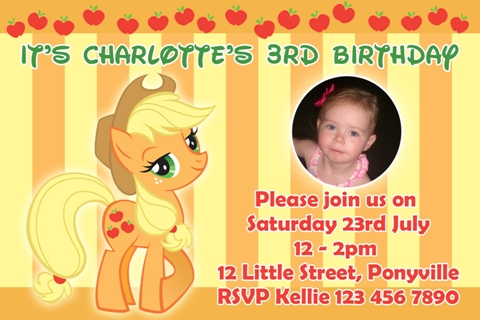 girls yellow orange apples cowgirl My Little Pony applejack personalised photo birthday party invitations