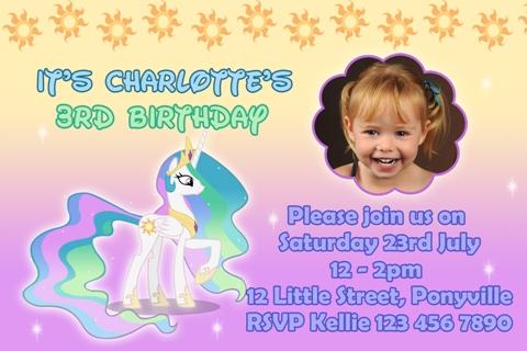 girls rainbow sun My Little Pony celestia personalised photo birthday party invitations