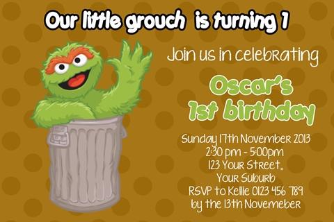 Oscar the grouch invitation