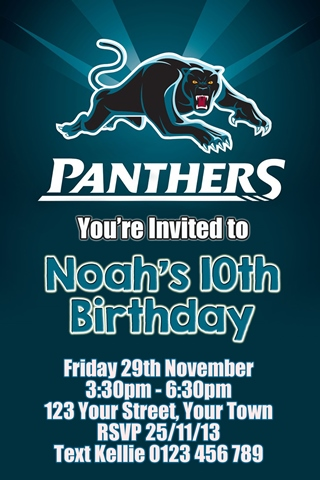 Penrith Panthers 1 NRL personalised invitation