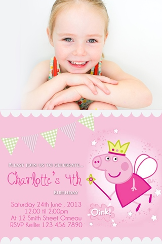 girls princess Peppa Pig invitations with photo