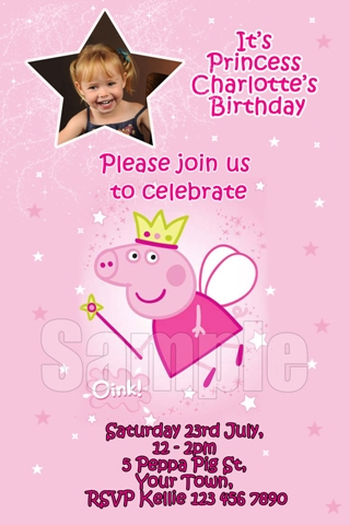 girls princess Peppa Pig personalised photo birthday party invitations