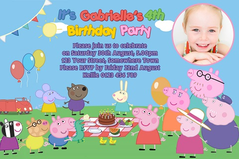 boys girls picnic Peppa Pig birthday party personalised invitations
