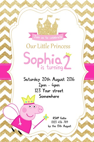 girls Peppa Pig princess pink gold glitter personalised invitations