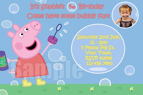 Peppa Pig bubble personalised photo birthday party invitations