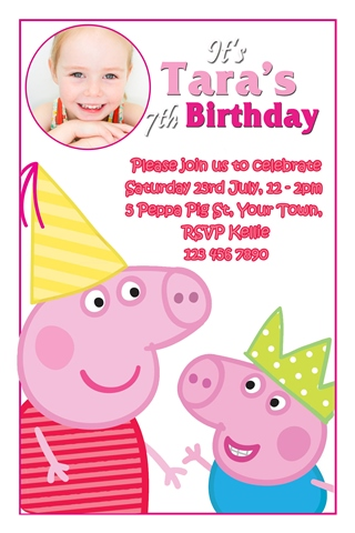Peppa and george Pig birthday party invitations