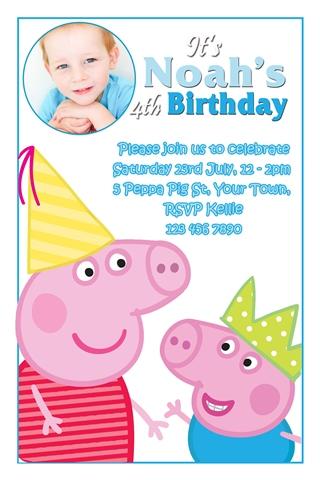 boys Peppa and george Pig invitations