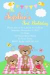 Girls personalised picnic bears invitation