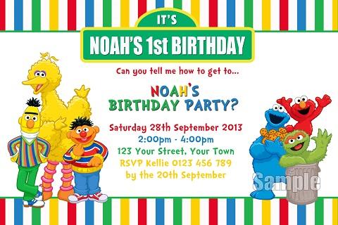 colourful Sesame Street big bird elmo personalised invitations