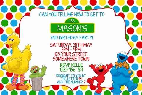 Sesame Street personalised birthday party invitation