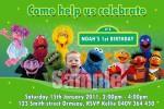 Sesame Street personalised photo birthday party invitation