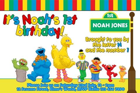 Seame street birthday party invitation