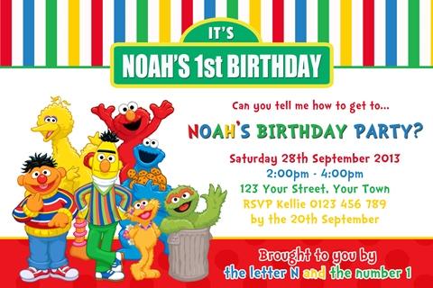 boys girls Sesame street birthday party invitation