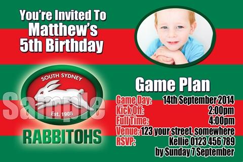 red green South Sydney Rabittohs NRL invitation