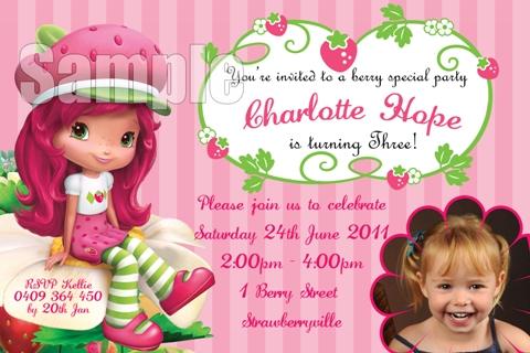 girls Strawberry shortcake personalised photo birthday party invitations