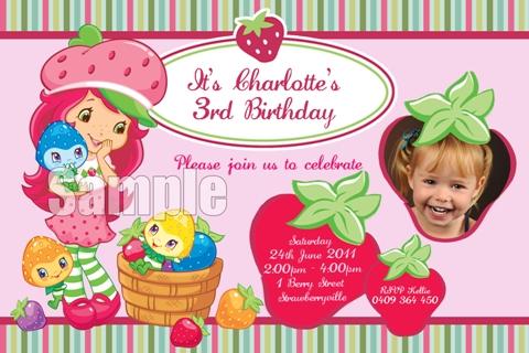 Strawberry shortcake personalised photo birthday party invitations