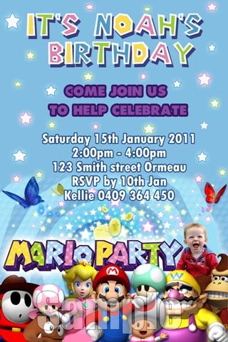 Super Mario personalised photo birthday party invitations
